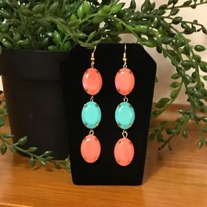 🛍SALE🛍 Turquoise & Coral 3 Stone Drop Earrings.